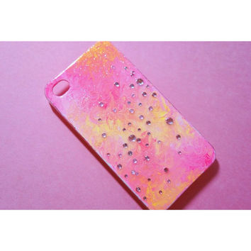 SALE Pink and yellow rhinestone hand painted decoden iPhone 4 case