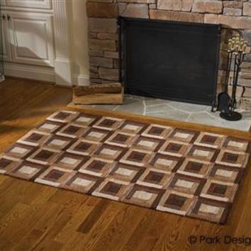 Country, Log Cabin Hooked Rug
