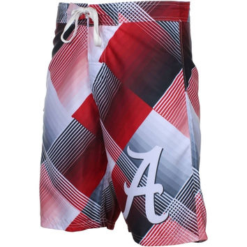 Alabama Crimson Tide Diamond Linear Boardshorts - Crimson/Gray