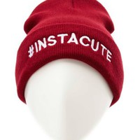 Instacute Embroidered Fold-Over Beanie by Charlotte Russe - Oxblood