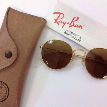 New Vintage B&L Ray Ban Classic Round Metal Arista Gold 52mm W0607 USA NOS