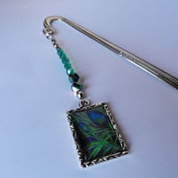 Peacock Feather Beaded Bookmark , Green Beaded Bookmarks , Gifts Under 10 , Gift for Coworker