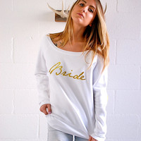 Bridal Sweatshirt - Bride Diamond Ring Elbow Patches