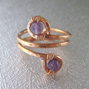 Adjustable Copper Amethyst Wire Wrap Finger And Toe Ring