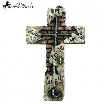 Montana West Words Wall Cross 15""