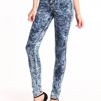 REBEL ACID WASH HIGH WAIST JEANS