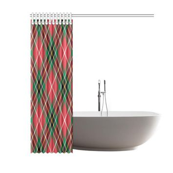 Plaid Tartan Polyester Shower Curtain 60x72 inch