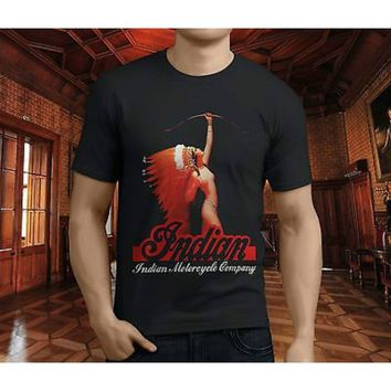 New Popular Classic Indian Motorcycle Nude PinUp Men's Black T-Shirt S-4XL