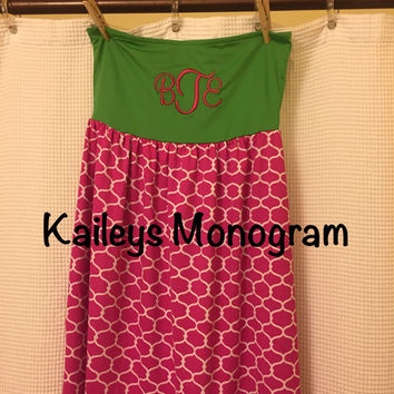 Monogrammed Bathing Suit Cover Up Swimsuit Cover Up  Starburst Pink Green Beach Pool Personalized Dress Swimwear Kaileysmonogram