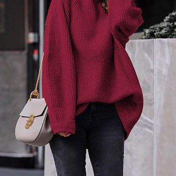 New Red High Neck Long Sleeve Pullover Sweater