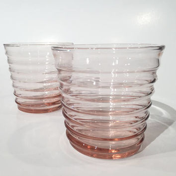 Pink Depression Glass Tumblers, Ribbed Pink Depression Glass Rocks Glasses, Set of 2 Vintage 30's Ribbed Pink Old Fashioned Drinking Glasses
