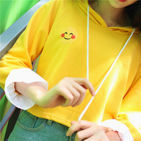 Women Girls Student Long Sleeve Casual Loose Tops  Drawstring Short Pullover Sweatshirt Smile Face