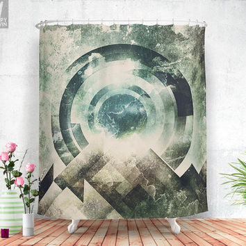 Moon travel  - Shower curtain - Mountains - Moon - Bathroom decor - Home decor - Bohemian - Original - Wanderlust - Nature - Curtains.