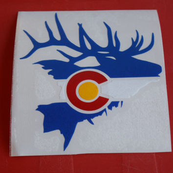 Colorado Flag Elk Sticker- Die cut