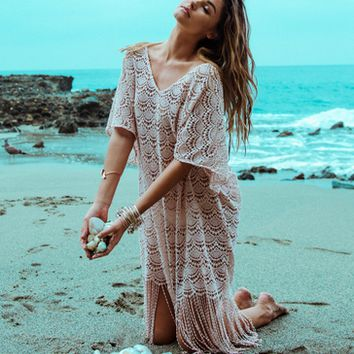 Boho CrochetTassel Beach Cover Up B007602