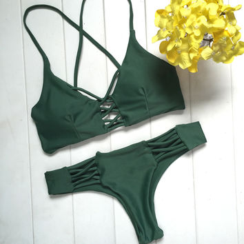Green Bikini Set Swimsuits