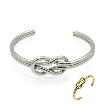 Stainless Steel Love Knot Bangle Cuff Bracelet - Gold Plated or Silver Rhodium