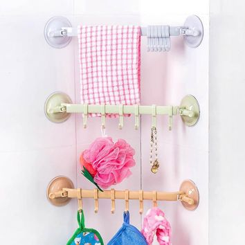 Suction Cup Towel Bar With Hooks Bathroom Holder
