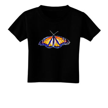 TooLoud Watercolor Monarch Butterfly Toddler T-Shirt Dark