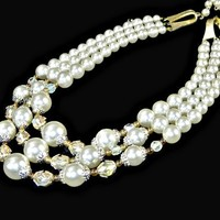 Multi Strand Pearl and AB Crystal Necklace Chunky Signed Japan