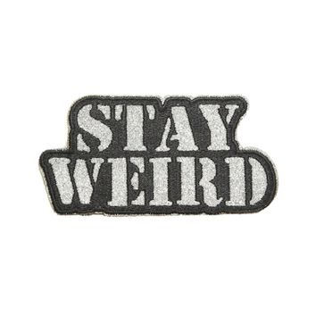 Licensed cool STAY WEIRD Silver Glitter Text IRON ON Patch Badge for Weirdos Jacket or Jeans