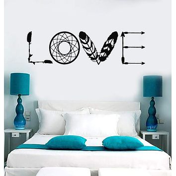 Vinyl Wall Decal Ethnic Love Arrows Word Lettering Bedroom Romantic Art Stickers Mural (ig5271)