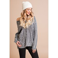 Set It Off Dip Back Sweater (Washed Grey)