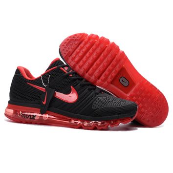 NIKE AIR MAX Fashion Sport Casual Shoes Sneakers Black-red hook H-CSXY