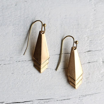 Deco Geometric Earrings ... Brass Vintage Drop Art Deco Minimalist