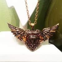 Angel Wings and Heart Pendant Necklace in Aged Gold Tone