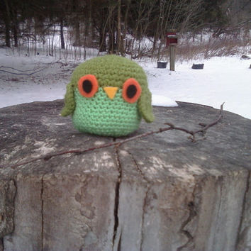 Green Amigurumi Owl by OwlPudding on Etsy