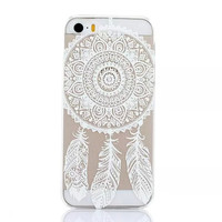 Luxury Clear Plastic White Floral Paisley Flower Mandala Phone Cover Case Shell for iPhone 5/5s