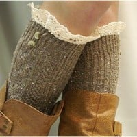 BKS2BL Nordic Lace brown tweed knee socks