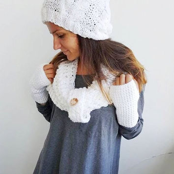 WHITE CROCHET SCARF Women Beanie Fingerless Glove Crochet Scarf Soft Infinity Braided Cable Boho Cowl Crochet Slouchy Women Scarf Winter