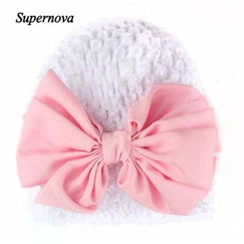 Baby Hats For Girls Winter Bowknot Warm Hat Newborn Toddler Skullies Beanie Photography Props Drop Shipping High Quality 61027