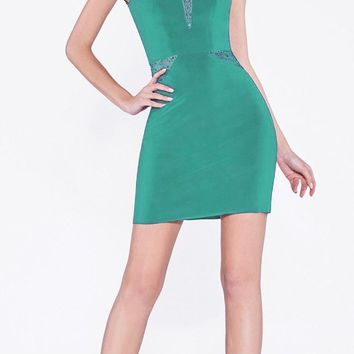 Fitted Cocktail Dress Mint Illusion Neckline And Rhinestone Details