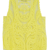 Yellow Crocheted Lace Vest