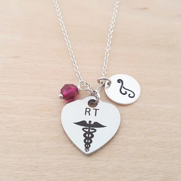 RT Nurse Necklace - Medical Necklace - Birthstone Necklace - Personalized Gift - Initial Necklace - Sterling Silver Necklace - Gift for Her