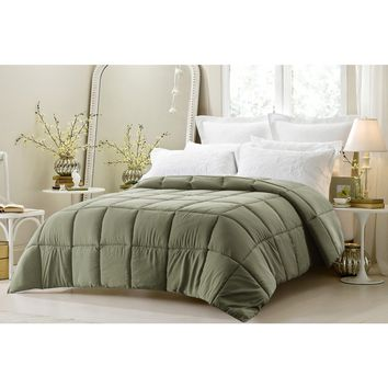 SUPER OVERSIZED-HIGH QUALITY-DOWN ALTERNATIVE COMFORTER- FITS PILLOW TOP BEDS - SAGE