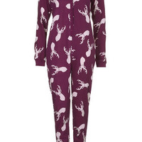 Stag Print Fleece Onesuit - Burgundy