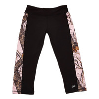 Black Capris with Mossy Oak Pink Break Up Side Stripes