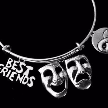 Drama Best Friends Forever Jewelry Expandable Comedy Tragedy Mask Infinity Symbol Silver Charm Bracelet Adjustable Wire Bangle One Size Fits All Gift Trendy