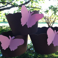 Cupcake wrappers:Chocolate brown and pink butterflies