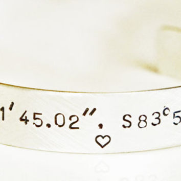Sterling Silver Coordinates Cuff Bracelet by RiverValleyJewelry