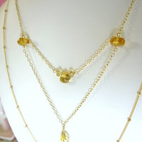 Citrine gold filled stacking necklace, citrine gold filled double dot necklace