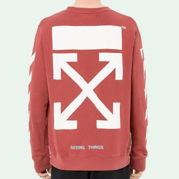 Off White Autumn And Winter New Arrow Striped Crewneck Sweater Red