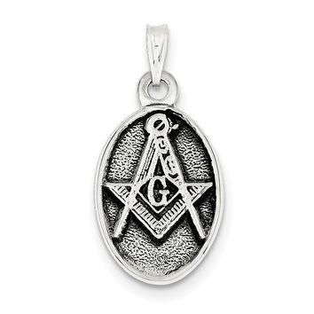 Sterling Silver Antiqued Masonic Pendant QC3819