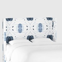 White And Blue Atomic Robertson Upholstered Headboard