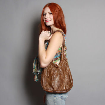 70s PATCHWORK Leather PURSE / Slouchy Brown Hippie BAG