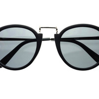Retro Round Sunglasses Matte Black Silver R833